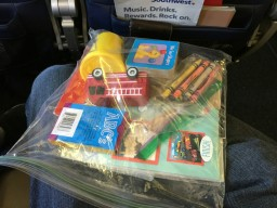 Organizing kid stuff on a airplane